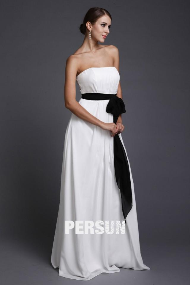 wedding photo - Elegant Bowknot Strapless Empire A line Long Bridesmaid Gown