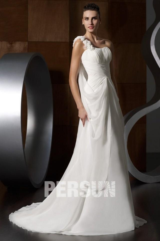 wedding photo - Chic One Shoulder Beading Applique Wedding Dress