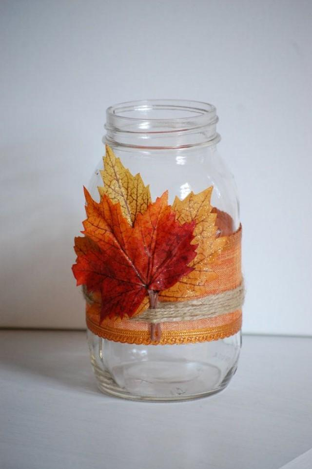 Autumn twine mason jar fall shabby chic home decor