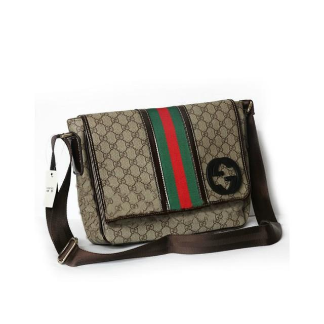 wedding photo - GUCCI GG Messenger Bag With Signature Web in Brown