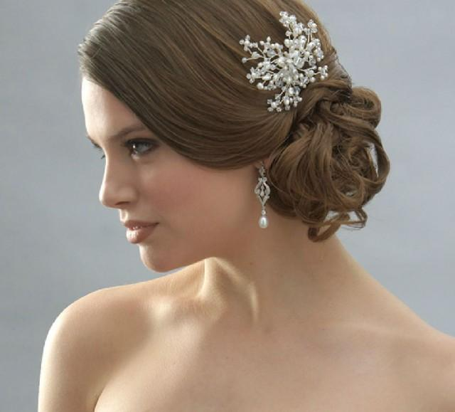 wedding photo - BEADED HANDMADE BRIDAL WEDDING BRIDES PEARL RHINESTONE CRYSTAL TIARA HAIR COMB