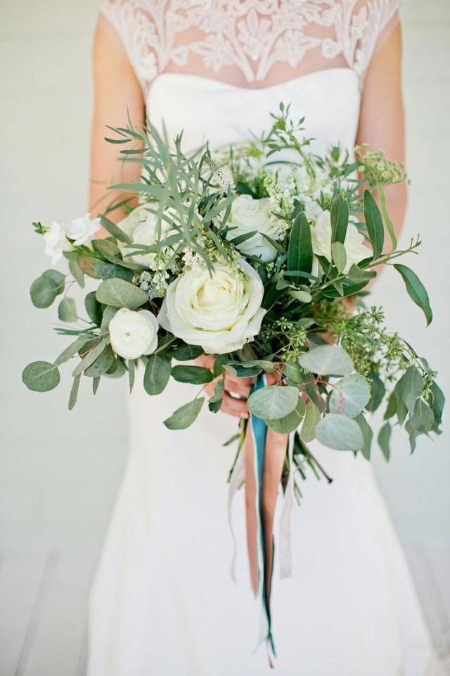 Wedding Bouquet White Rose And Greenery Bouquet 2164822 Weddbook