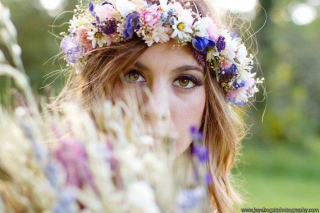 wedding photo - Dried Flower Bridal Crown Floral Hair Wreath By Michele At AmoreBride Goddess Headdress Wedding Acessories Pink Blue Garland Halo Circlet