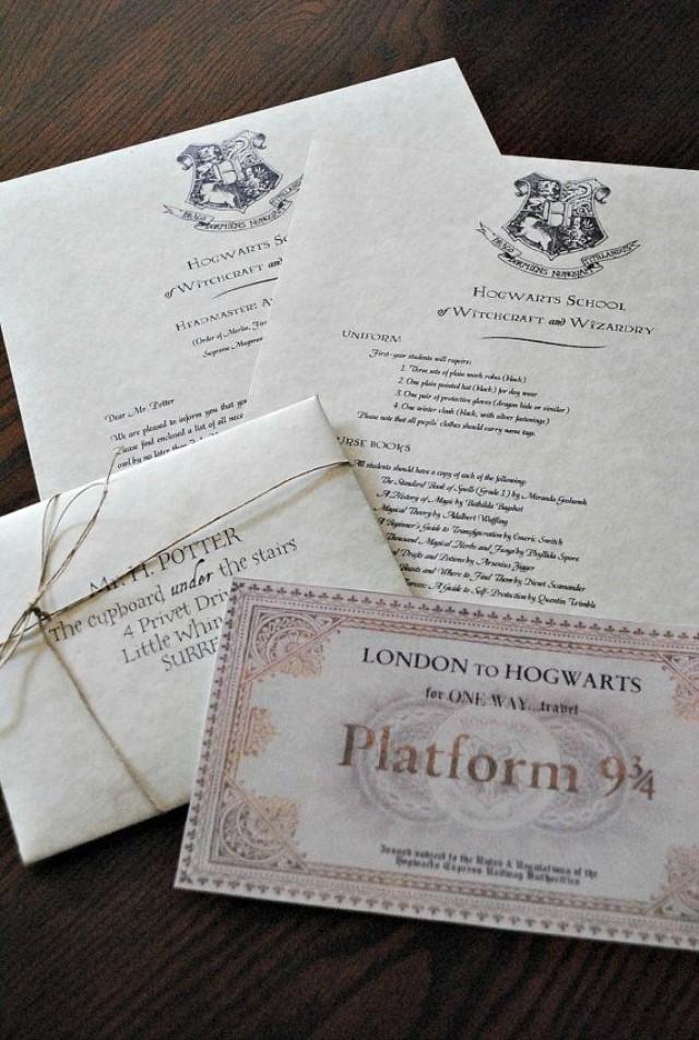 personalized harry potter hogwarts acceptance letter includes free ticket on hogwarts express. Black Bedroom Furniture Sets. Home Design Ideas
