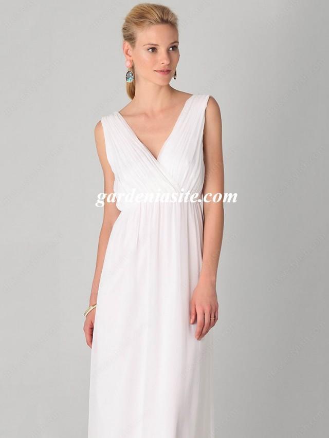 wedding photo - A-line V-neck Chiffon Ankle-length Sleeveless Pleats Maxi Dresses
