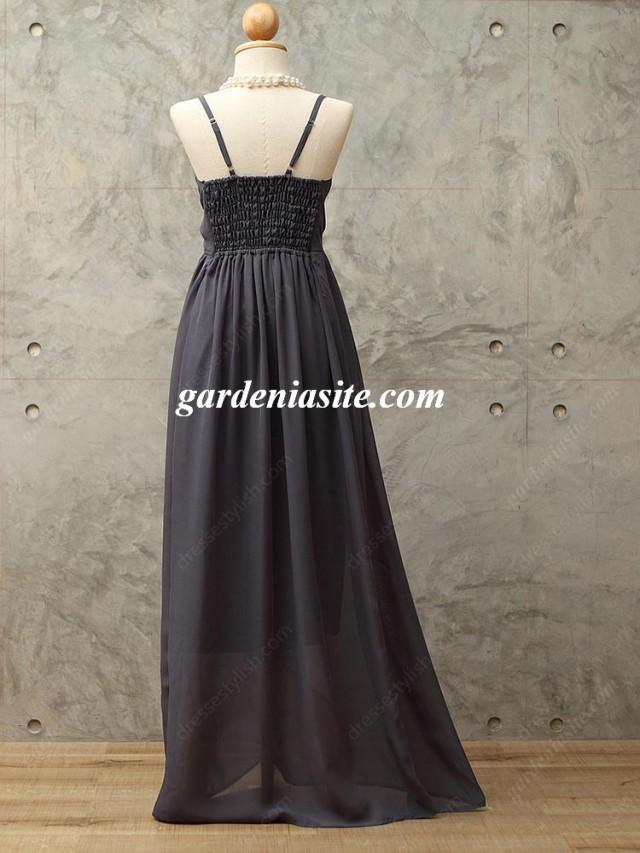 wedding photo - Empire Spaghetti Straps Chiffon Floor-length Sleeveless Pleats Maxi Dresses