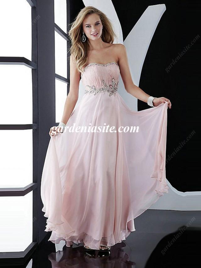 wedding photo - A-line Strapless Chiffon Floor-length Sleeveless Crystal Detailing Maxi Dresses