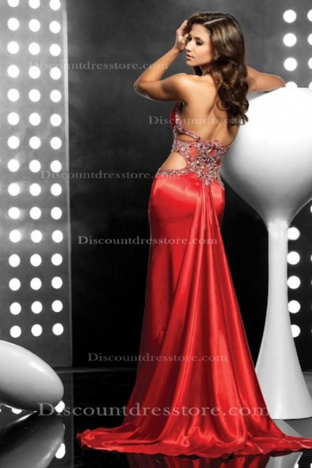 wedding photo - Cheap Mermaid/Trumpet Sleeveless Court Train Red Formal Dress