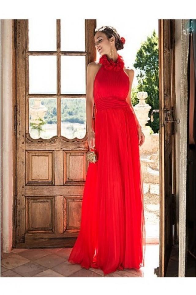 wedding photo - Cheap A-line Halter Sleeveless Red Formal Dress