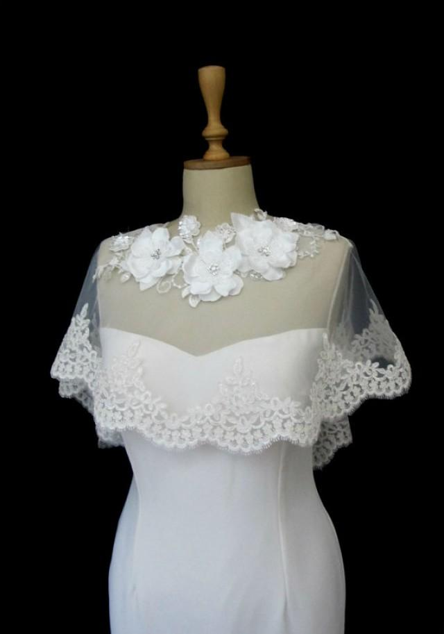 How Much Does It Cost To Ship A Car >> Ivory Lace Bridal Cape Shawl Lace Shrug Wedding Wrap Scalloped Flower Neck Spring Summer Cover ...