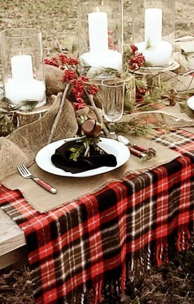 Christmas plaid wedding