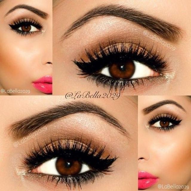 Красивый макияж больших карих глаз