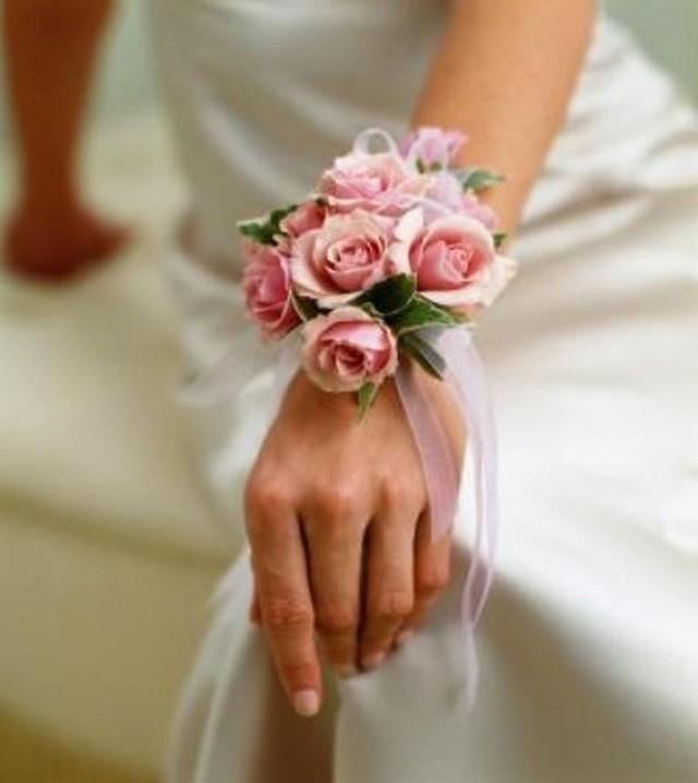 Wedding Flowers And Corsages : Pink rose wrist corsage wedding corsages bridesmaids