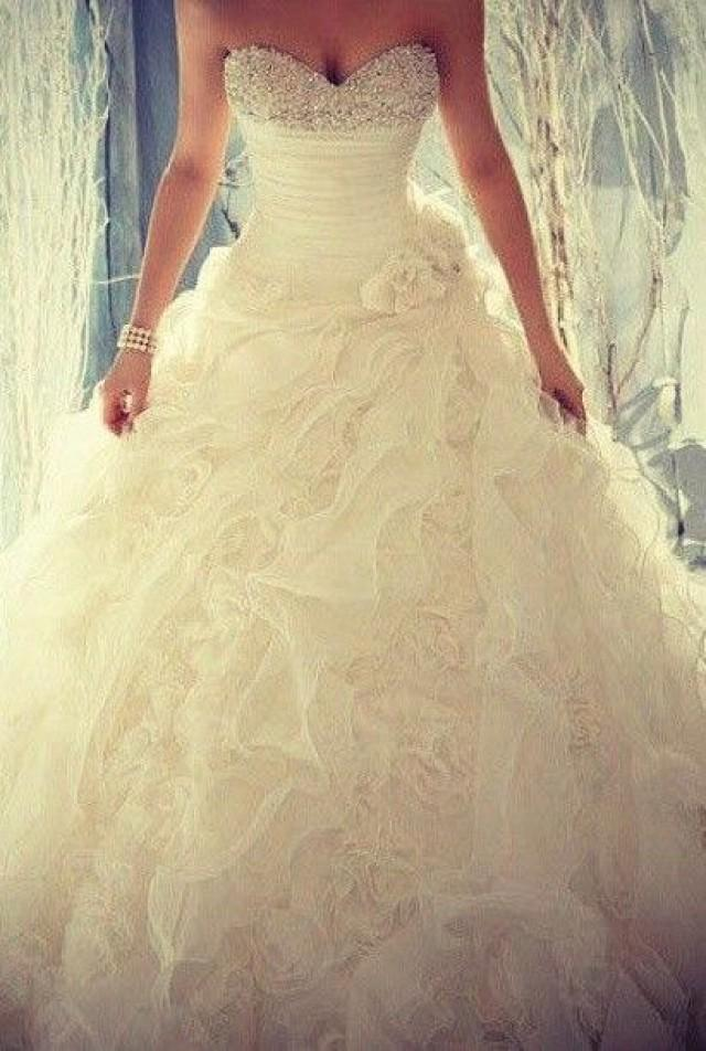 Ball gown strapless beaded sash chapel train bridal gowns for Cute princess wedding dresses