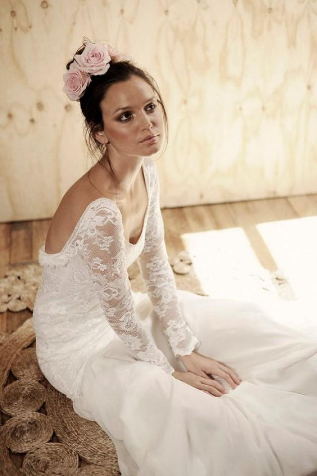 wedding photo - Long Lace Sleeve Wedding Dress With Stunning Low Back And Silk Chiffon Train Boho Vintage Bride