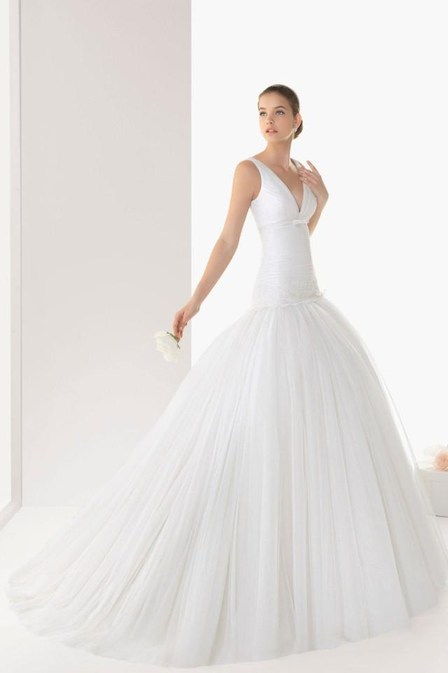 wedding photo - Modern V neck Court Train Sheath Tulle Cheap Wedding Dress