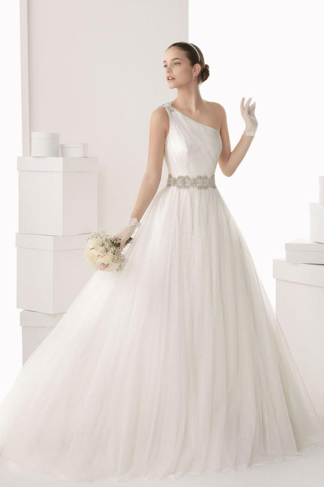 wedding photo - Chic One Shoulder A line Tulle White Wedding Dress Cheap