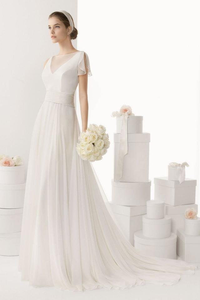 wedding photo - Elegant Sheer V neck Brush Train Cheap Wedding Dress UK