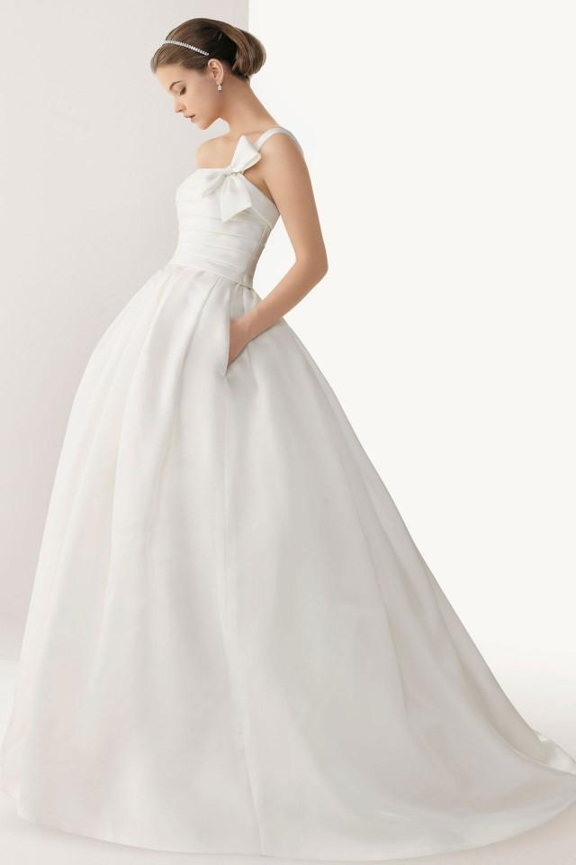 wedding photo - Chic One Shoulder Bowknot Satin Ball Gown Cheap Wedding Dress UK