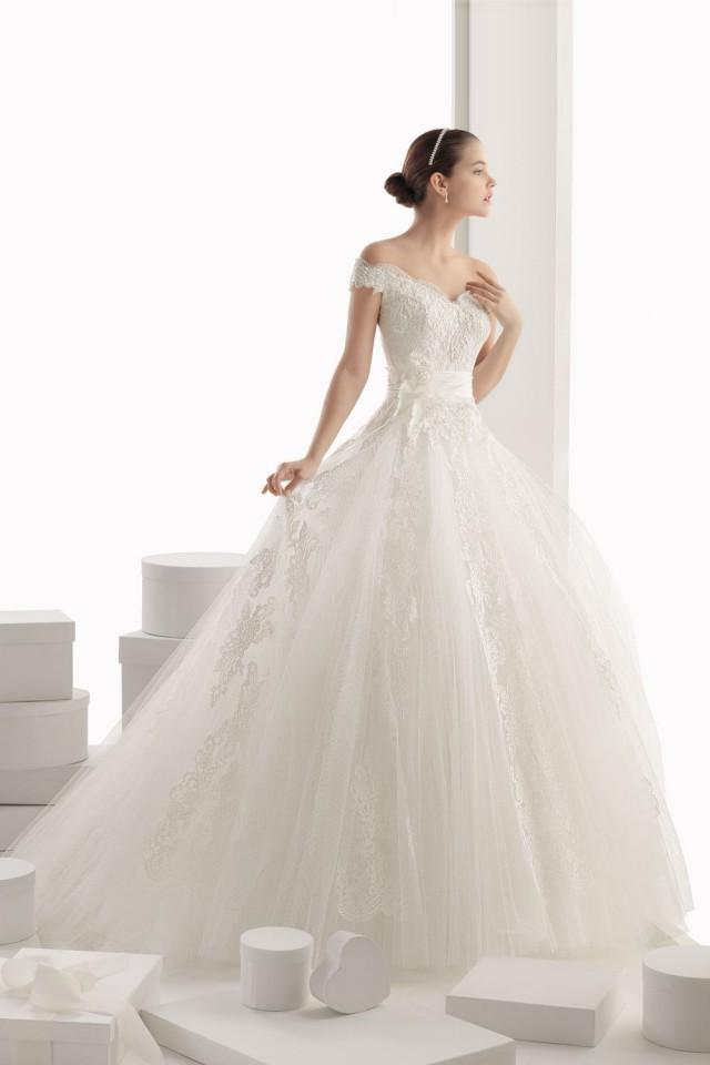 wedding photo - Modern Off Shoulder Flower Tulle Ball Gown Cheap Wedding Dress
