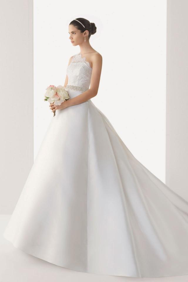 wedding photo - Simple Sheer One Shoulder Empire Satin Court Train Wedding Dress Cheap