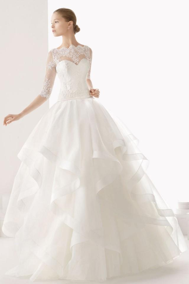 wedding photo - Beautiful Sheer Half Sleeves Ruffles Organza Wedding Dress Online