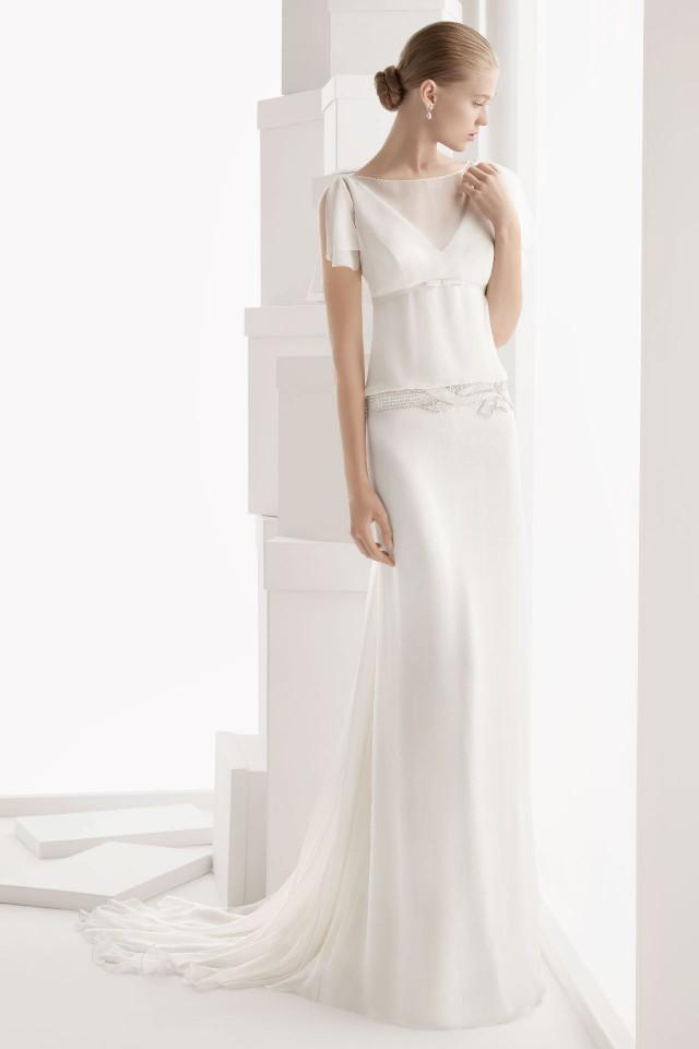 wedding photo - Elegant Draping Sheer V neck Chiffon Cheap Wedding Dress UK
