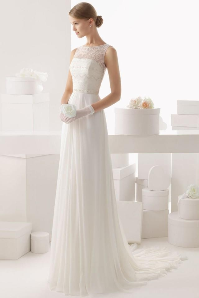 wedding photo - Sheer Bateau Brush Train Tulle Cheap Wedding Dress UK