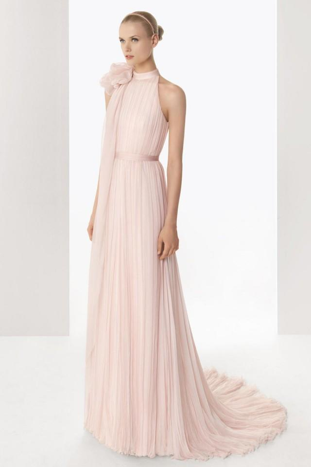 wedding photo - Pink Tone High Neck Bowknot Chiffon Court Train Cheap Wedding Dress