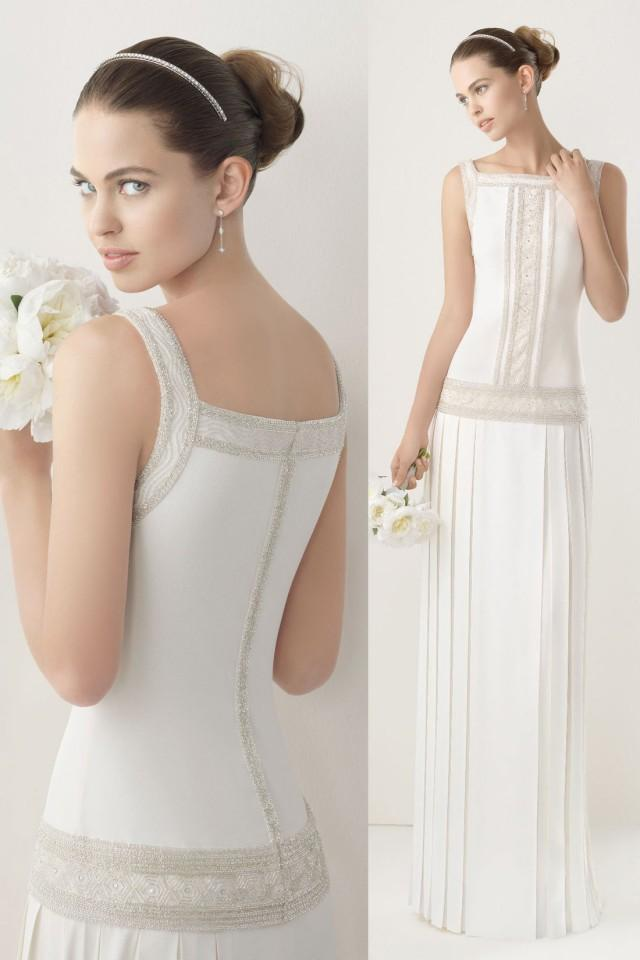 wedding photo - Elegant Square Neck Pleats Floor Length Satin cheap Wedding Dress