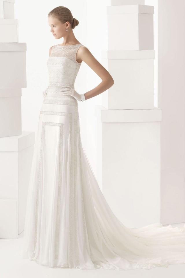 wedding photo - Cheap Chiffon Embroidery Sleeveless Button Back Dress for Wedding