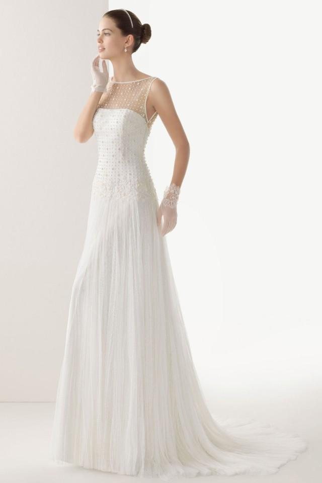 wedding photo - Tulle Sheer Appliques Button Back Sweep Train Wedding Dress UK