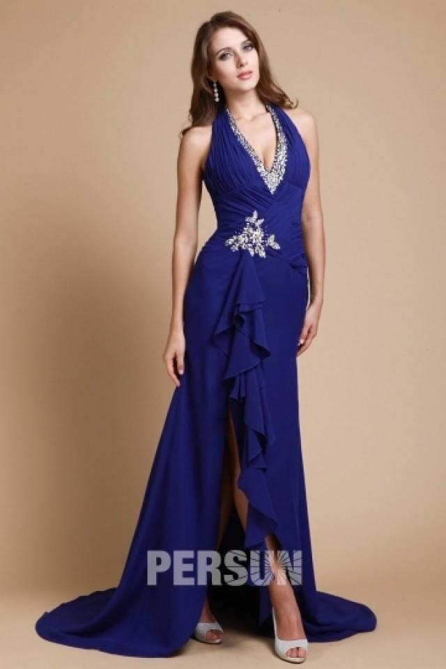 wedding photo - Colne Halter Slit Front Royal blue Prom Dress