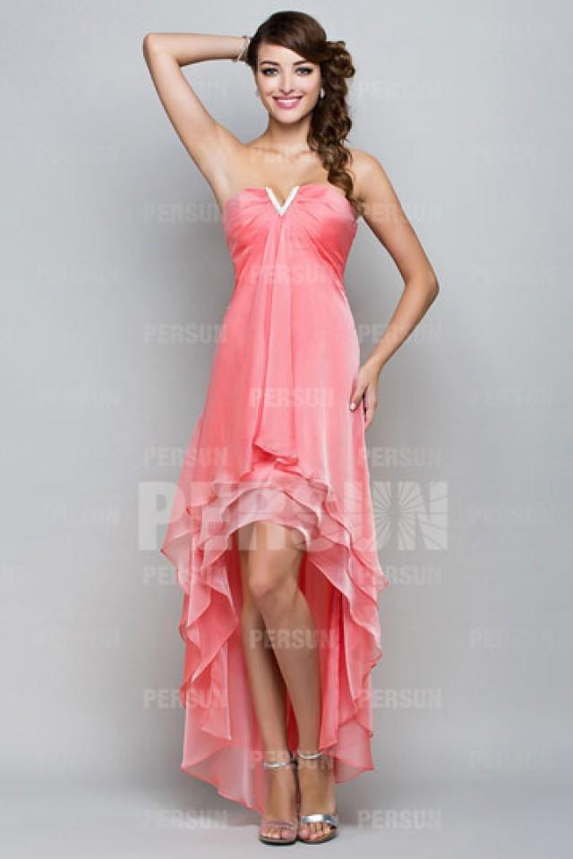 wedding photo - Cramlington Best selling High low Coral Summer Prom dress