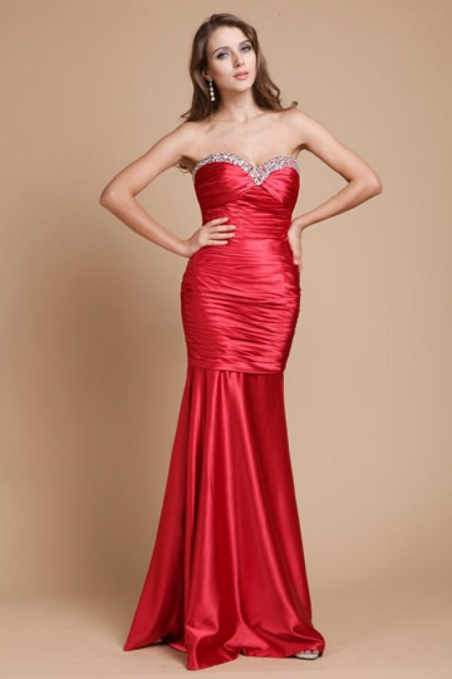 wedding photo - Deal Sweetheart Red Mermaid Prom Dress