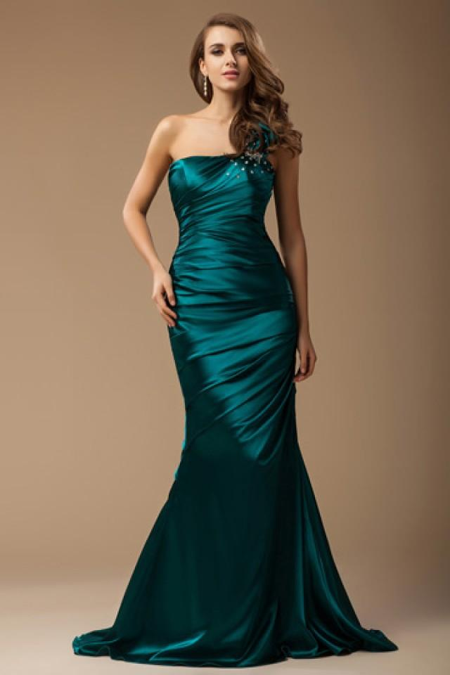 wedding photo - Dorchester Floral Green Wrap Mermaid Evening Gown