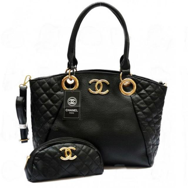 wedding photo - Branded CHANEL Black Womens Side Quilted CC Logo Shoulder Bag