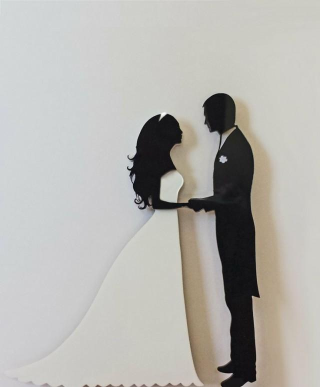 Wedding Cake Topper Silhouette Groom And Bride, Black And