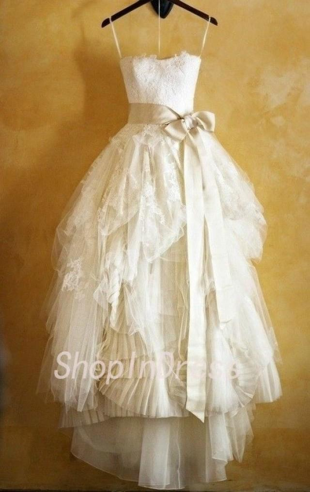 2014 wedding dress lace wedding dress a line wedding dress for Tulle high low wedding dress