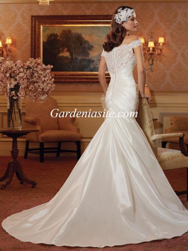 wedding photo - Mermaid/Trumpet Off-the-shoulder Court Train Appliques Shiny Crystals Satin Wedding Dress 2014