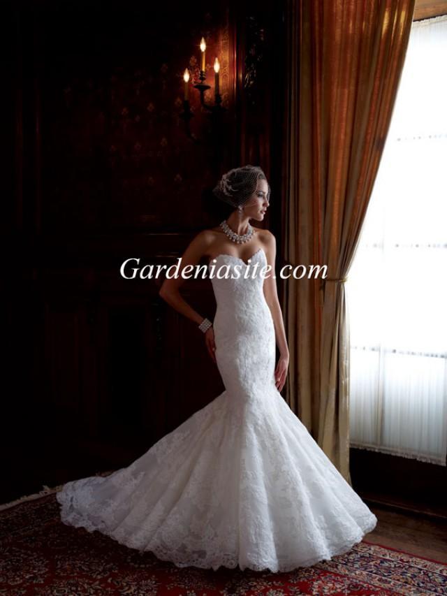 wedding photo - Trumpet/Mermaid Sweetheart Court Train Applique Tulle Wedding Dress 2014
