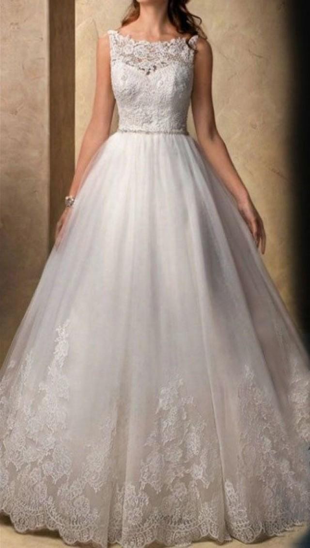Lace wedding dress white wedding dress empire waist for Empire lace wedding dress