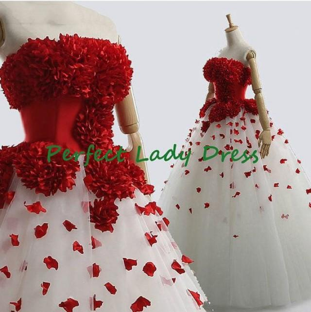 Qq225 red and white wedding gown with long train chic for Cheap white and red wedding dresses