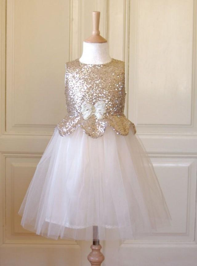 wholesale gold tulle flower girl dresses