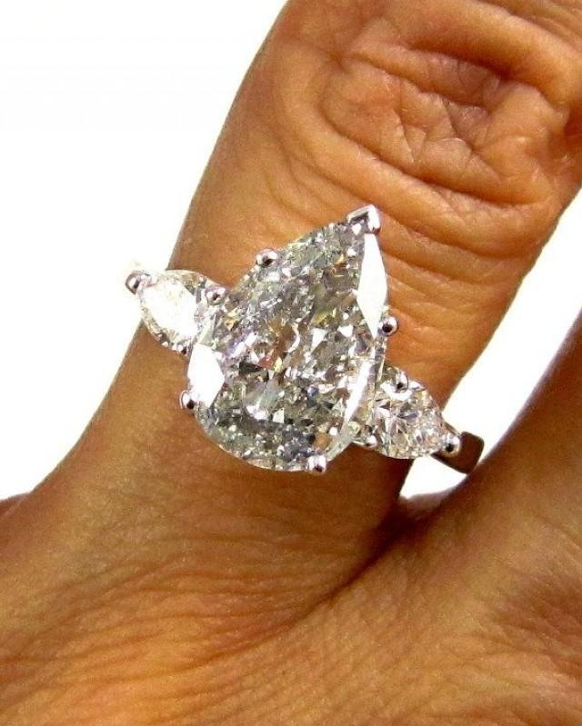 Estate Vintage EGL USA 2 67ct Classic PEAR Cut Diamond Engagement Ring In Pla