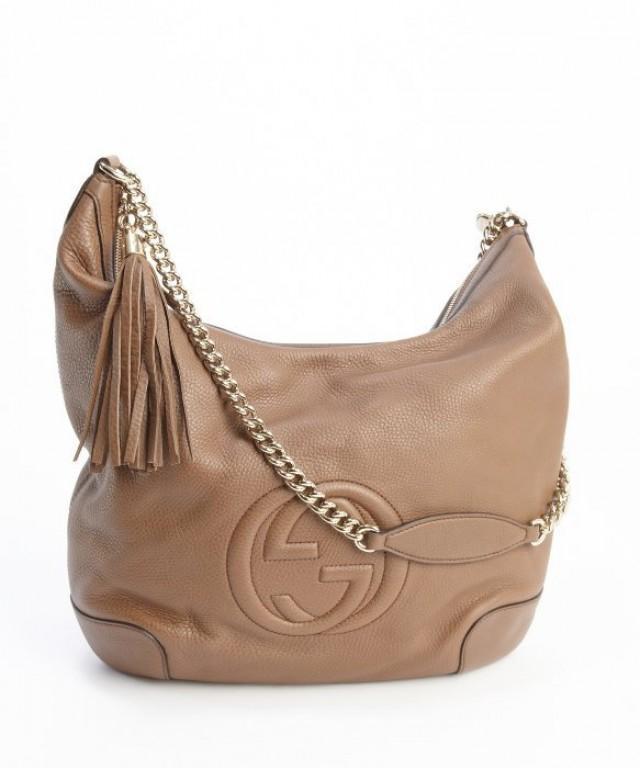 wedding photo - Authentic GUCCI brown Soft leather Centre GG Logo Tassel Chain Shoulder Bag