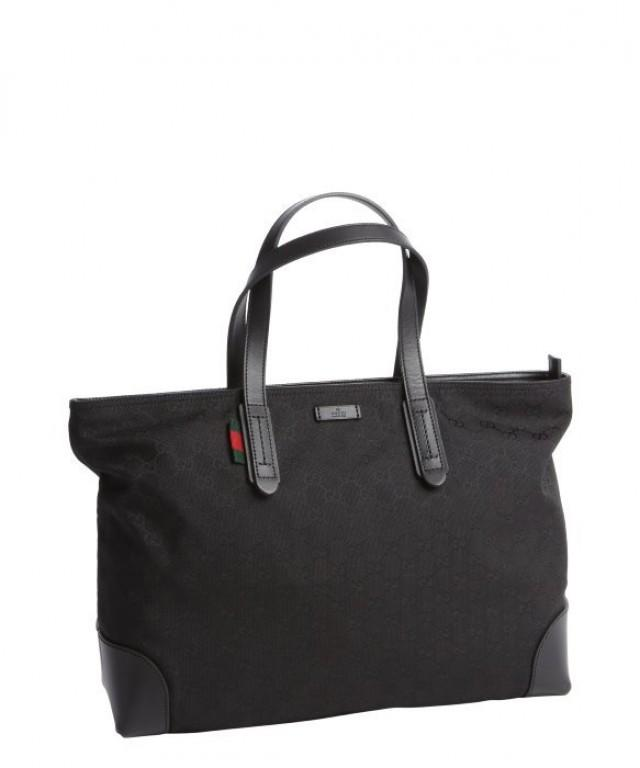wedding photo - AUTHENTIC GUCCI GG Black Canvas Tote Flexible Handle Handbag