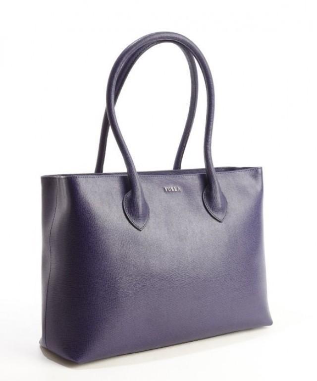 wedding photo - Authentic FURLA Notturno Blue Logo Stamp Front Flexible Handles Satchel Bag