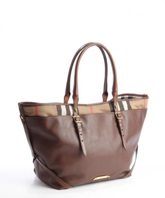 wedding photo - BURBERRY Brown Soft Leather and Canvas Mixture Flexible Handles Tote Bag