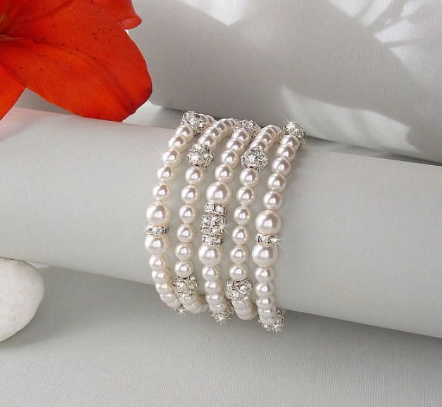 Wedding Cuff Bracelet Pearl Bridal Swarovski Pearls Chunky Jewelry Chloe